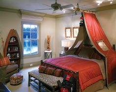 Themed Bedrooms For Boys comes with Sweet Red Canopy Bed Modern Design and Minimalist Rustic Head Board And Foot Board
