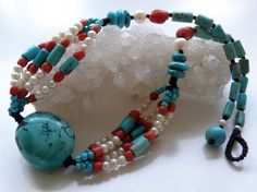 Tibetian Turquoise gemstone necklace with red by ShambhalaJewelry on etsy.com