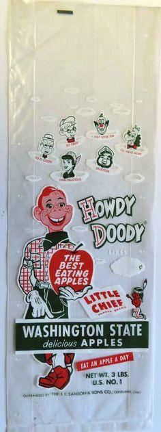 VINTAGE HOWDY DOODY WASHINGTON STATE APPLES PROMOTION UNUSED PLASTIC BAG 1950s #HowdyDoodyWashingtonStateApples