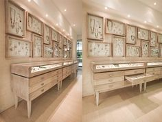 in store jewelry display, white on white boxes