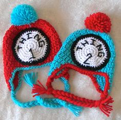 Thing 1 & Thing 2 Hat... Newborn to 12months... Great photo prop. $25.00, via Etsy.