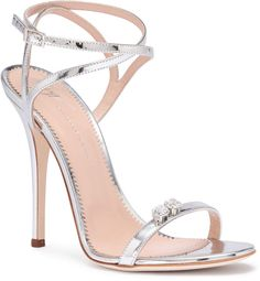 Silver metallic leather sandals from Giuseppe Zanotti. The Ellie has a stiletto heel, an adjustable ankle strap, and a small crystal detail on the toe.True to sizeLeather soleMade in ItalyDesigner colour: Argento Stilettos, Stiletto Heels, Ankle Strap Heels, Ankle Straps, Hot Shoes, Shoes Heels, Giuseppe Zanotti Heels, Zanotti Shoes, Beautiful High Heels