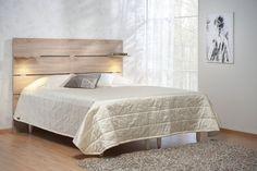 Black sängynpääty, dunte tammi + hyllylevyt LED-valaisimilla