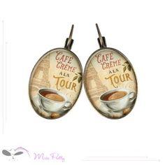 CAFE CREME - cabochon earrings - boucles d'oreilles cabochons. Cabochons :: brass :: laiton :: glass :: verre :: retro :: vintage :: Paris :: Tour Eiffel :: Eiffel tower :: café crème :: coffee