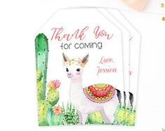 Llama Favor Tags, Cactus Baby Shower Thank You Tags, Fiesta Baby Shower, Printable, Llama Birthday Party Favor Tags, Girl Baby Shower