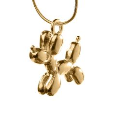 14k Gold Balloon Dog Necklace, Very cool gold necklace with Balloon Dog pendent, wee animal balloon jewelry