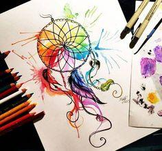 цвет, красочно, нарисованное, рисунок, мечта, ловец снов