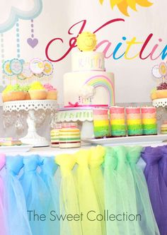 Kaitlin's Pastel Rainbow 3rd Birthday | CatchMyParty.com