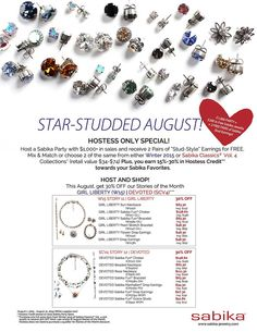 Sabika Jewelry's August 2015 Specials!    Contact me at: stephaniesabika@gmail.com or 412-915-5982 for a NEW catalog, to make a purchase, or to host a party!