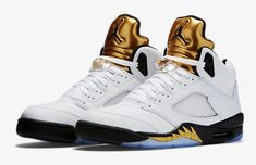 quality design 8a8cb ba347 Details about Nike Air Jordan Retro 5 Olympic Gold Coin Size 3.5-18 White  Black 136027-133