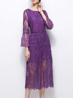 Purple Sheath Pierced Floral Cocktail Midi Dress