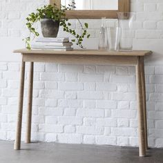 Wycombe wooden console table on oak - 45364 modern, contemporary wooden console for narrow hallway or living room. Slim Console Table, Wooden Console Table, Contemporary Hallway, Hallway Furniture, Wooden Furniture, Furniture Plans, Entryway Tables, Home Decor, Nordic Style