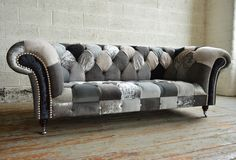 Modern British and handmade Patchwork Chesterfield Sofa. Totally unique fabric 3 seater, shown in grey monochrome coloured fabrics. | Abode Sofas