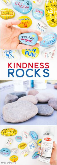 Fun crafts With Rocks - Kindness Rocks Project with Kids Fun Ideas Consumer Crafts Summer Crafts, Diy And Crafts, Crafts For Kids, Arts And Crafts, Pebble Painting, Pebble Art, Diy Painting, Painting Stencils, Painting Patterns