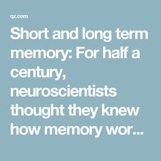 Short and long term memory: For half a century, neuroscientists thought they knew how memory worked. They were wrong — Quartz