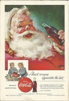 Coca-Cola Santa Claus 1955 Vintage Print Ad Color Illustration Christmas Coke Set of Twins Twin Girls Shopping Cart Coca Cola Poster, Coca Cola Ad, Always Coca Cola, Pepsi, Coca Cola Christmas, Christmas Ad, Vintage Christmas, Coke Santa, Coca Cola Santa Claus