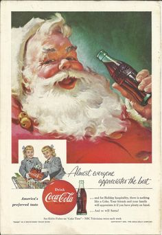 Coca-Cola Santa Claus 1955 Vintage Print Ad Color Illustration Christmas Coke Set of Twins Twin Girls Shopping Cart