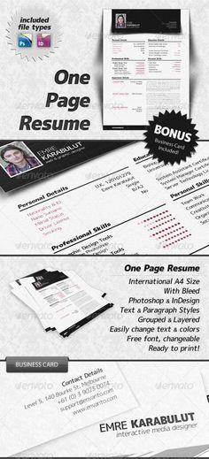 minimalist one page resume cv