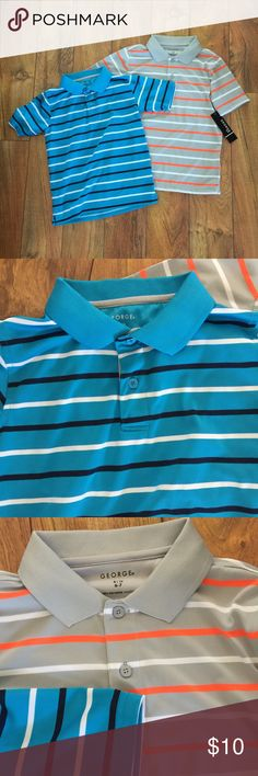 George Collar Polyester Shirt Good condition and one new with tags. Blue and orange collar shirts. Size Small 6-7 George Shirts & Tops Polos