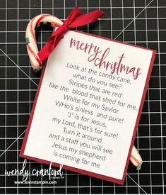 Tips For Just A Second Wedding Ceremony Anniversary Reward 12 Weeks Of Christmas Week 11 Candy Cane Christmas Goody - Luvin Stampin Christmas Poems, Meaning Of Christmas, Christmas Party Games, Christmas Gift Box, Christmas Goodies, Christmas Candy, Christmas Projects, Christmas Holidays, Christmas 2019