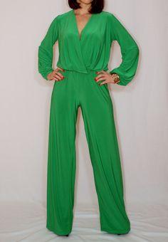 Long sleeve jumpsuit wide leg jumpsuit Bright green jumpsuit Wrap top