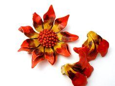 Flower Demi Set Orange Enamel Floral by TheJewelryLadysStore