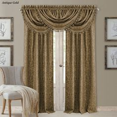 Elrene Home Fashions Antonia Blackout Rod Pocket/Back Tab Window Curtain Panel,Antique Gold,Valance *** For more information, visit image link. (This is an affiliate link and I receive a commission for the sales) Window Panels, Window Coverings, Window Treatments, Waterfall Valance, Tab Curtains, Kitchen Curtains, Window Accessories, Wood Look Tile, Custom Drapes