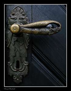 ancient door handle at the northern portal of the dome of Bardowick.