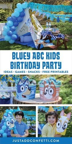 This Bluey ABC Kids Birthday Party is so much fun! I hope you can use these simple DIY ideas, party games, recipe, and free printables to create a playful and memorable Bluey Backyard Birthday Party for your family! Head to justaddconfetti.com for more creative party ideas and easy DIY decorations!