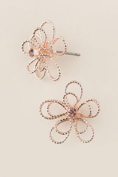 Fawna Wire Flower Stud Earring In Rose Gold