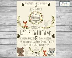 Woodland animal baby shower invitation by MagicPartyDesigns