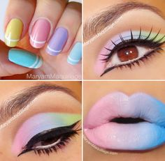 Pastel makeup!!! omg to die for!!!! i need to know where these lipsticks are from i am in cotton candy unicorn carnival heaven!! <3