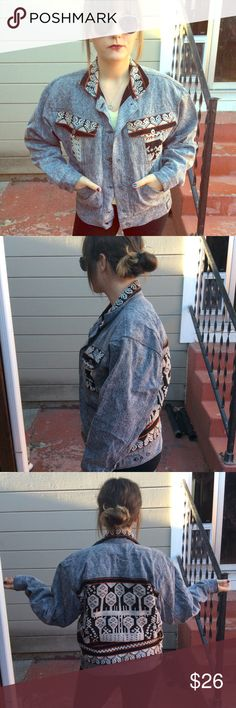 Hipster Denim Jacket Aztec detailed denim jacket. One of a kind. Lining on the inside. Will keep you warm. Jackets & Coats
