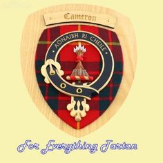 Clan Cameron Tartan Woodcarver Wooden Wall Plaque Cameron Crest 7 x 8