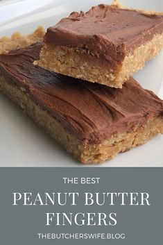 dessert bars The BEST peanut butter fingers (bars) you will ever eat! An easy dessert that everyone will love! Peanut butter oatmeal bottom with creamy chocolate frosting makes the most yummy treat ever! Peanut Butter Oatmeal Bars, Best Peanut Butter, Peanut Butter Desserts, Brownies With Peanut Butter, Peanut Butter Slice, Peanut Butter Squares, Köstliche Desserts, Delicious Desserts, Dessert Recipes