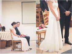 Hochzeit, Trauung, Brautpaar, Braut, Bräutigam, Brautkleid, Anzug, Spitze, schlicht, schwarz, weiß, Blumen: bloombox düsseldorf, Foto: Violeta Pelivan