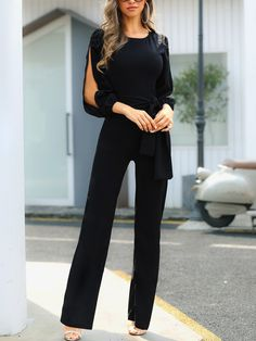 Outfit ideen Slit Sleeve Knotted Front Jumpsuits Watching a seed grow into a tree is just as wondrou Looks Black, Mode Chic, Business Casual Outfits, Womens Fashion Online, Pattern Fashion, Beautiful Outfits, Work Wear, Ideias Fashion, Fashion Outfits