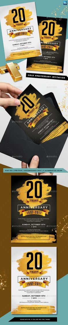 Gold Anniversary Invitation Photoshop PSD Best Picture For ideas manualidades material reciclado For Gala Invitation, Business Invitation, Invitation Card Design, Invitation Cards, Invites, Business Anniversary Ideas, Company Anniversary, Husband Anniversary, 50th Anniversary Invitations