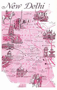 Old Map of New Delhi, India