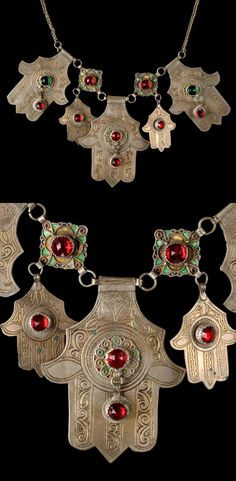 Morocco - Tiznit, Massa | Necklace ~ Tikhamsatin ~ 5 'Hands of Fatima' decorated with enamel and glass cabochons. The other two medallions are made from coins.