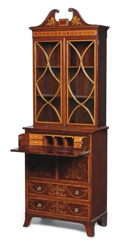 A MAHOGANY AND SATINWOOD MARQUETRY SECRETAIRE BOOKCASE OF GEORGE III STYLE, EARLY 20TH CENTURY