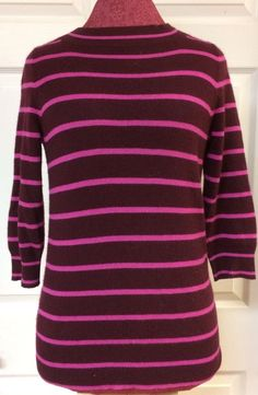 J. Crew 100% Italian Cashmere Bateau Sweater Pink & Purple Striped Size Small #JCREW #Sweater