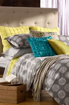 """yellow, gray, and teal bedding. I think this is what """"I"""" want in my NEW room please. Home Bedroom, Master Bedroom, Bedroom Decor, Bedroom Ideas, Gray Bedroom, Trendy Bedroom, Teal Bedding, Bedding Sets, Turquoise Bedding"""