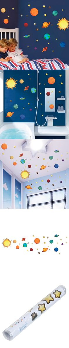 2016 New Creative Solar System Wall Stickers Plane Wall Paper Kids Bedroom Decor Outer Space Stars Planets Wall Decals 1 Sheet $3.75