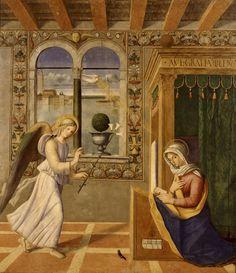 Francesco di Simone-Annunciazione,tavola, cm 186 × 162 1504 Pinacoteca dell'Accademia Carrara, Bergamo