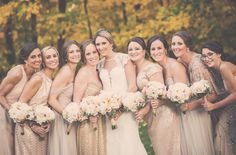 POP THE CHAMPAGNE! Do not be scared to mix fabrics in the same color story. Just look how beautiful!! 📷 Red Shoe Bride; Bridesmaids Dresses- Amsale, Bari Jay, Monique Lhuillier & Adrianna Papell