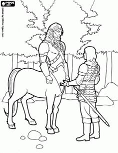 prince caspian and the centaur coloring page