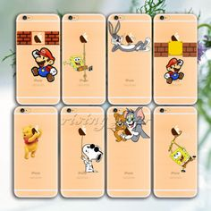 Transparent-Cute-Cartoon-Pattern-PC-Hard-Case-Cover-For-iphone-6-6S-6Plus-5-5s
