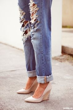 distressed bf jeans & wedges