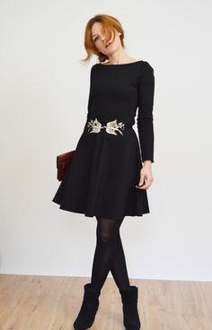 Petticoatkleider - Romi - Langarm Jerseykleid schwarz - ein Designerstück von Visual-Vampire bei DaWanda